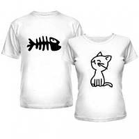 Футболка для влюблённой пары с кошкой и рыбкой, парные футболки для двоих
