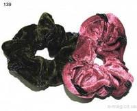 Резинка большая велюр чёрній биссер-139