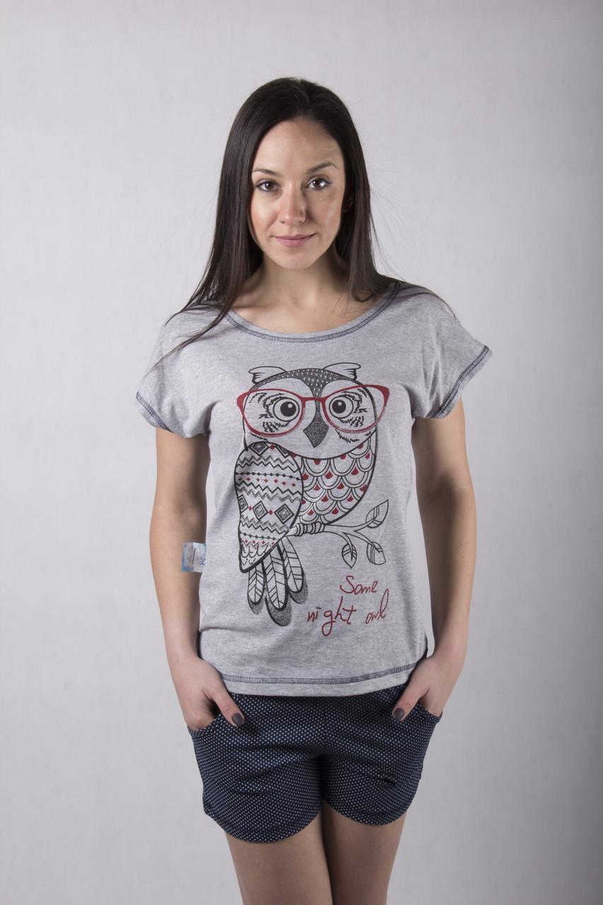 "Пижама футболка с шортами ""Sova-gray"" р.  50"