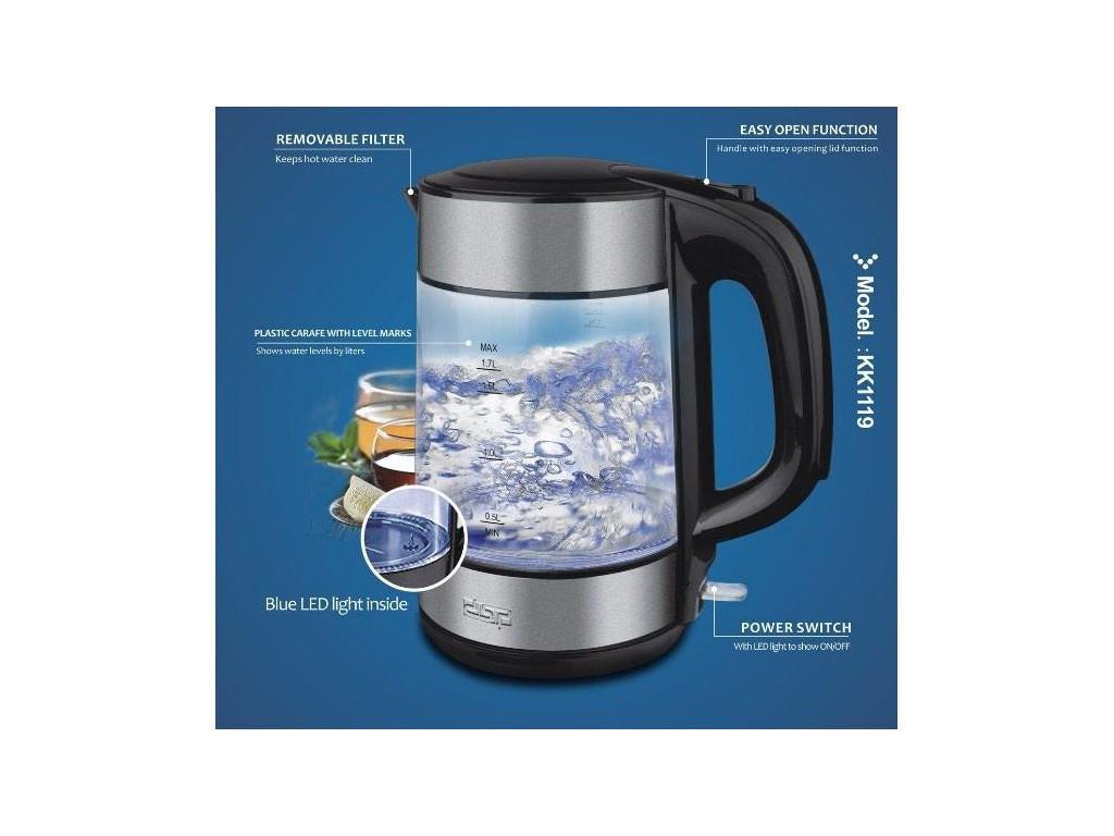 Чайник электрический стеклянный  1.7л DSP KK1119, 1850ВТ