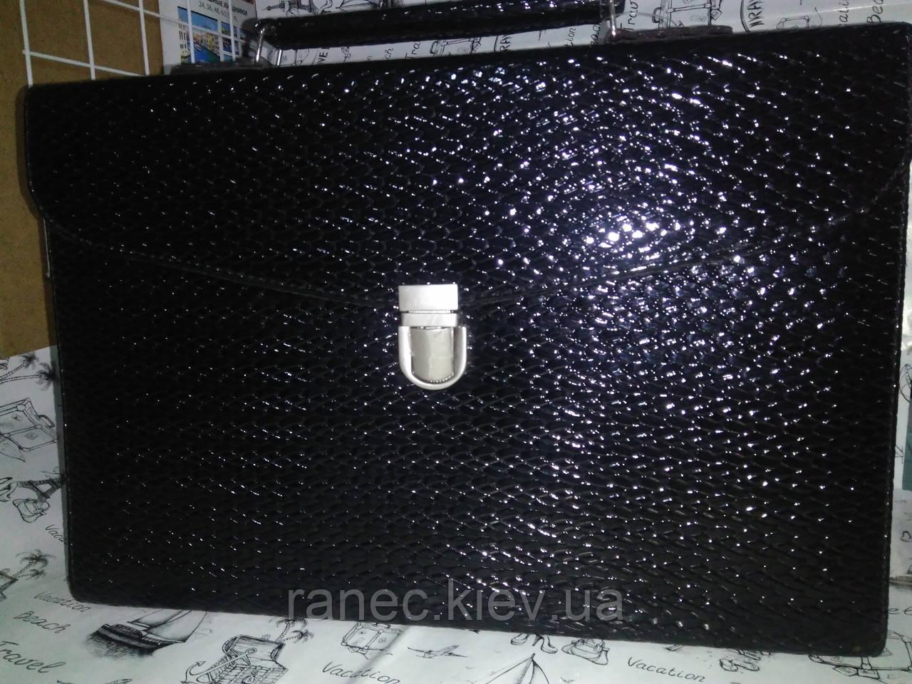 Папка-портфель из искусственной кожи черная  20071
