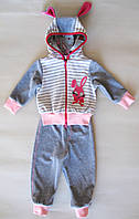 Ясельный костюм велюровый для девочки Заинька (3-24 мес)