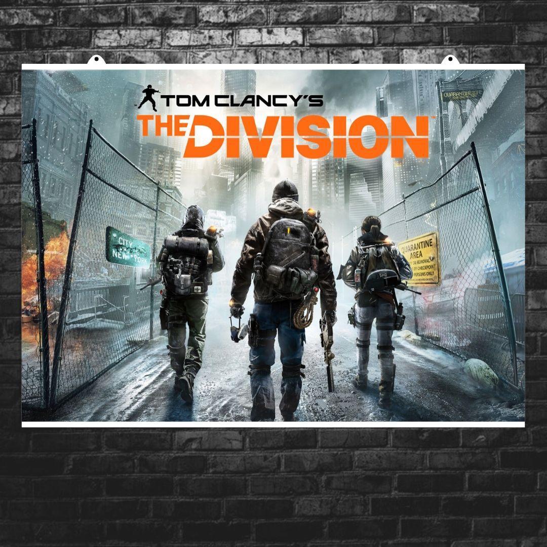 "Постер ""The Division"", Дивизион, Том Клэнси, трое сталкеров, карантин. Размер 60x40см (A2). Глянцевая бумага"