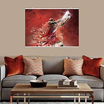 """Постер """"Баскетболист Bulls поднимает вверх мяч"""",  стилизация. Размер 60x43см (A2). Глянцевая бумага, фото 3"""