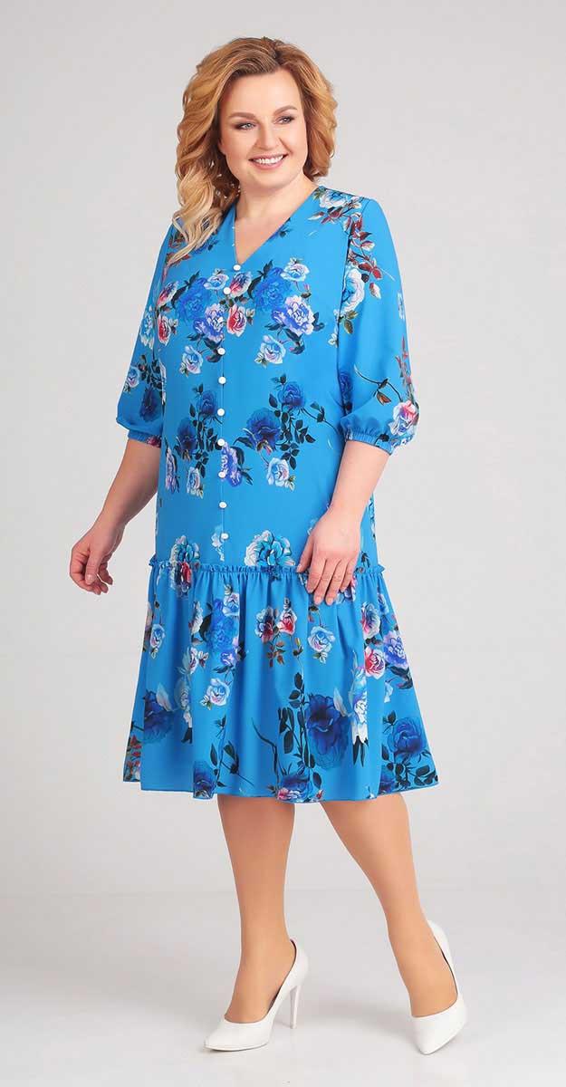 Сукня Асолия-2412 білоруський трикотаж, волошковий, 52