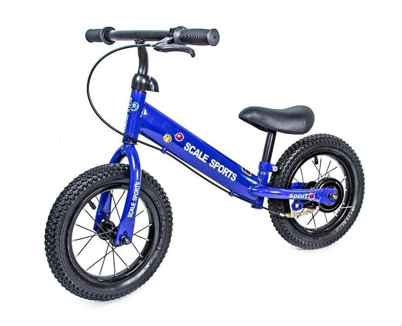 Беговел для ребенка от 2 3 4 лет Scale Sports колеса 12 надувные ручной тормоз синий