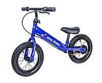 Беговел для ребенка от 2 3 4 лет Scale Sports колеса 12 надувные ручной тормоз синий, фото 1