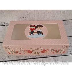 Коробка с окошком 20*15*6 см с принтом