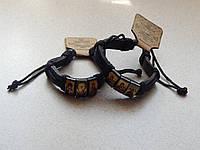 Кожаный браслет с иконкой
