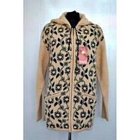 Куртка женская вязаная на замке с цветами