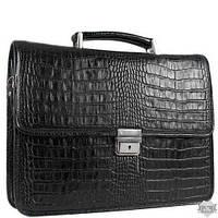 Мужской кожаный черный портфель Desisan