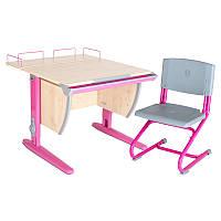 """Набор школьной мебели """"Дэми"""" СУТ.14-01 клен/розовый со стулом"""