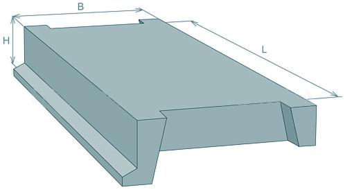 Лестничная площадка ребристая железобетонная ЛПР28-14 (2800 х 1300 х 320 мм)