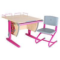 """Набор школьной мебели """"Дэми"""" СУТ.14-01 клен/розовый  с рисунком цветы со стулом"""