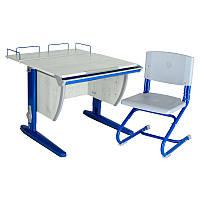 """Набор школьной мебели """"Дэми"""" СУТ.14-01 серый/синий со стулом"""