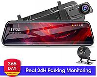 DVR L1027 Full HD Зеркало видеорегистратор 2 камеры 10 дюймов сенсорный экран, фото 1