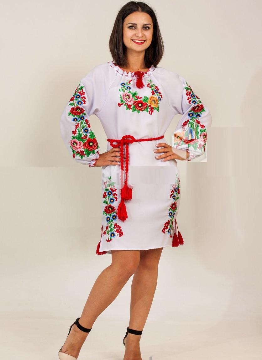 Вышитое платье с длинным рукавом Диана