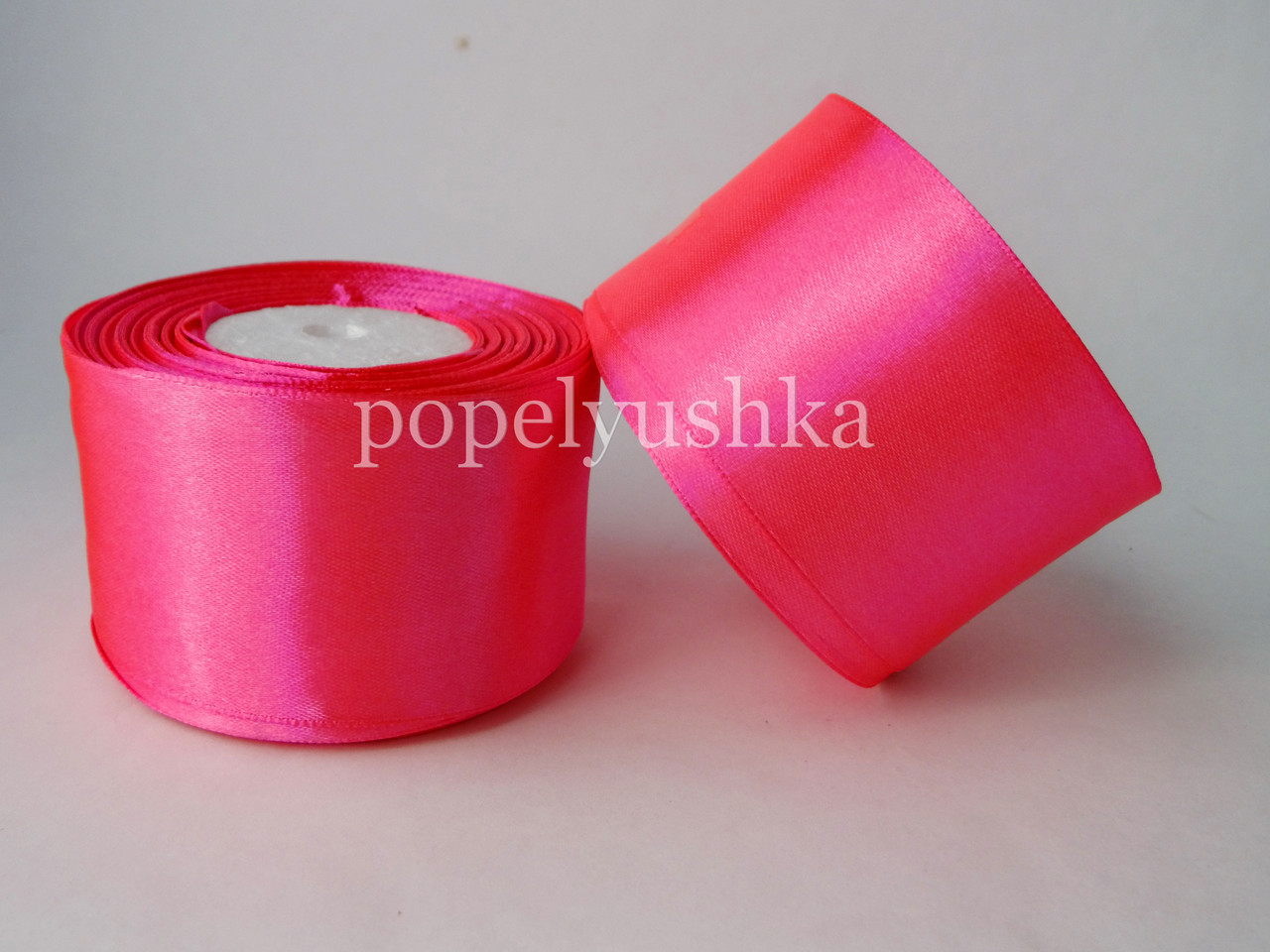 Стрічка атласна 5см тепло-рожева
