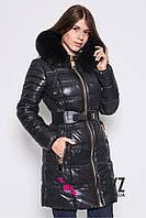 Женская зимняя куртка на тинсулейте LS-8514  Черная р.48