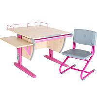 """Набор школьной мебели """"Дэми"""" СУТ.14-02 клен/розовый со стулом"""