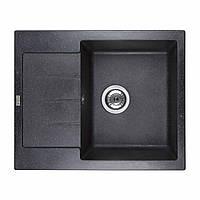 VENTOLUX Каменная мойка черная SILVIA (SPACE BLACK) 620x500x200