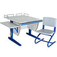 """Набор школьной мебели """"Дэми"""" СУТ.14-02 серый/синий со стулом"""