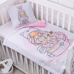 Плед и подушка с куклой светло-розового цвета
