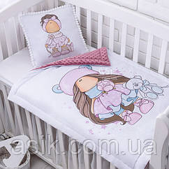 Плед и подушка с куклой тёмно-розового цвета