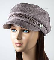 Теплая женская кепка из трикотажа