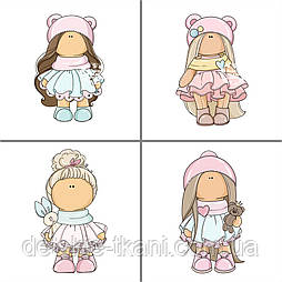 Панельки из сатина 4 шт размером 33*33 см с куклами Doll.