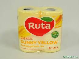 """Папір туалетний""""Ruta"""" Classic жовтий 2ш 4рул."""