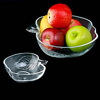 Салатница стеклянная (салатник для пищи) глубокая для кухни Яблочко 13см Stenson (R85578)
