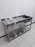 Стол мойка для кухни из нержавеющей стали 1700х600х1000, фото 1