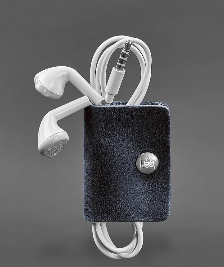 Холдер, чохол для навушників шкіряний синій (ручна робота)