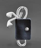 Холдер, чохол для навушників шкіряний синій (ручна робота), фото 1