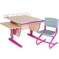 """Набор школьной мебели """"Дэми"""" СУТ.14-02 клен/розовый """"Цветы"""" со стулом"""