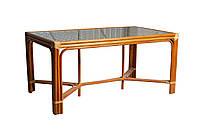 Плетенный обеденный стол 2208 натуральный ротанг + стекло King of Rotang коньяк