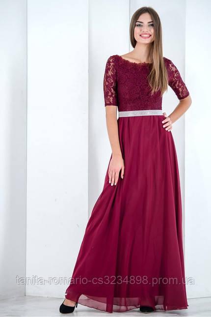 Вечернее платье с кружевным верхом и поясом в камнях