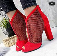 Женские красные ботильоны с открытым носочком, ОВ 9353, фото 1