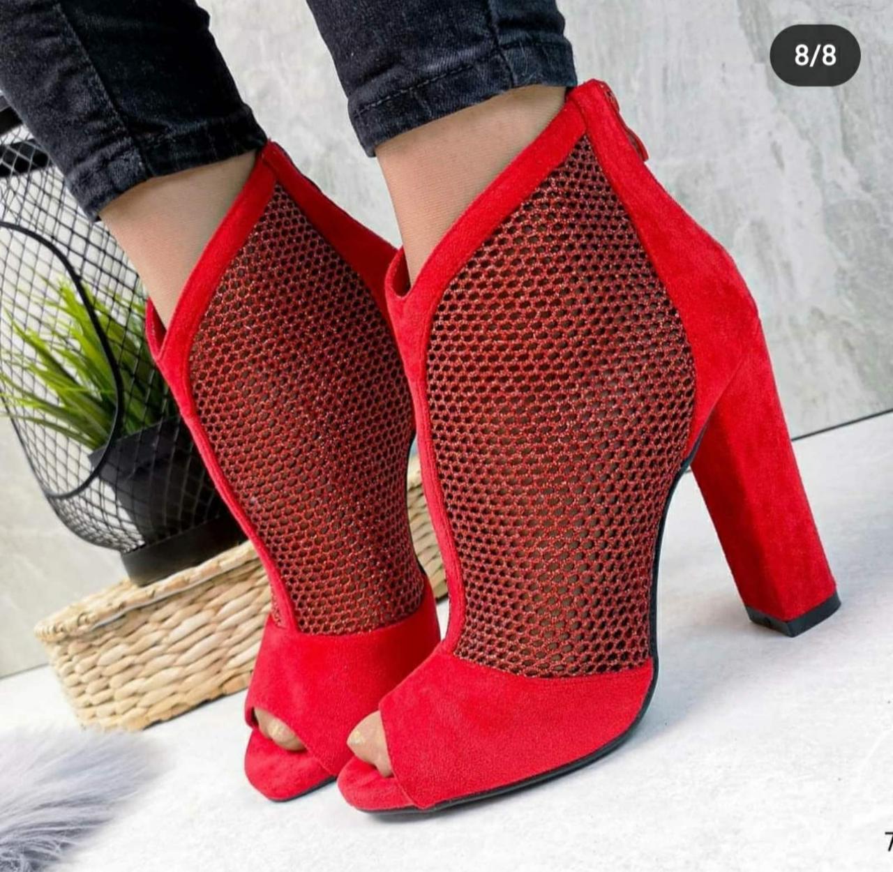 Женские красные ботильоны с открытым носочком, ОВ 9353