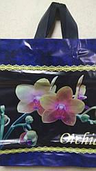 Полиэтиленовый пакет с петлевой ручкой 400*420 мм Орхидея букет