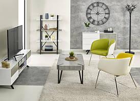 Стеллаж  STONNO REG2 черный/бетон/белый (60х32х148) Halmar