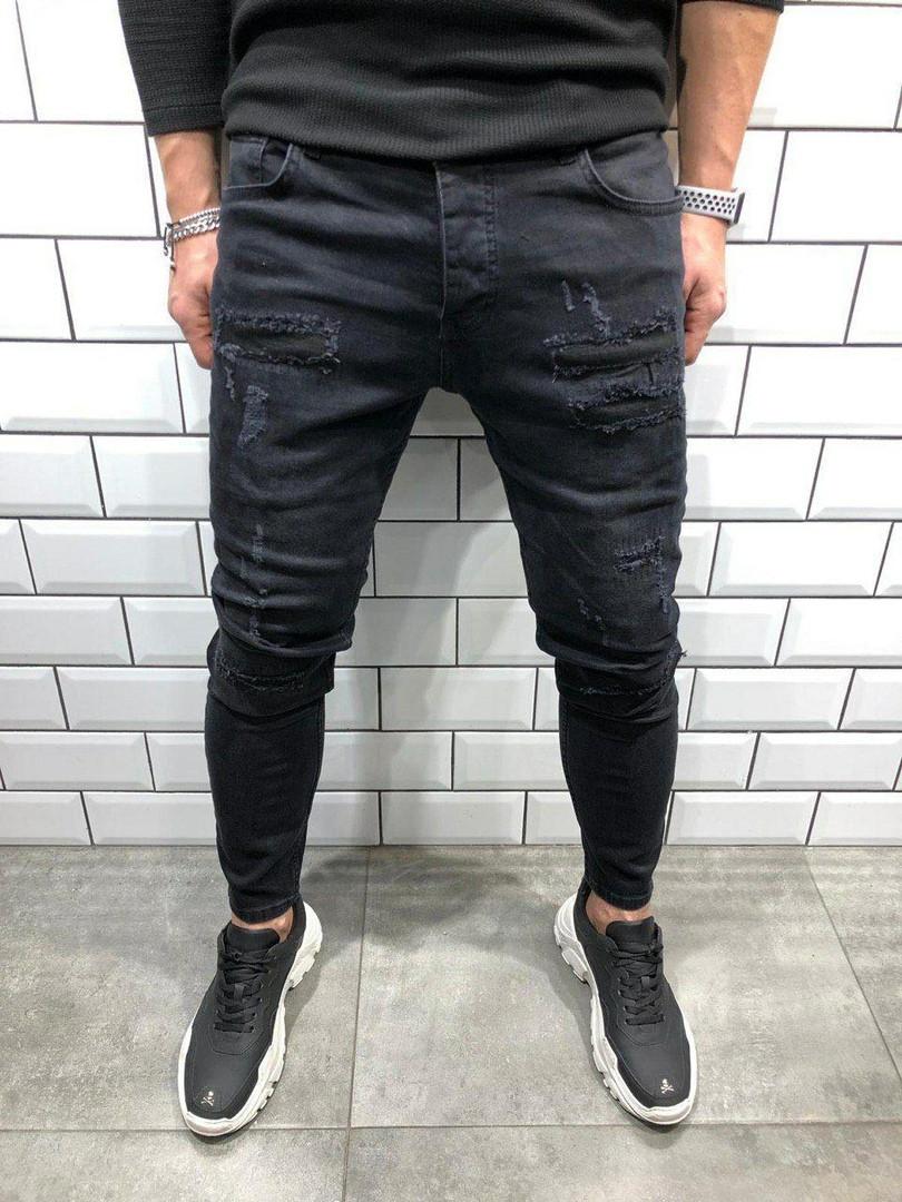 Мужские джинсы черные потертые А-5525-3431