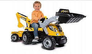 Детский трактор с прицепом, ковшом и экскаватором Smoby