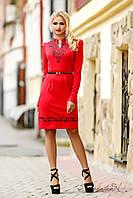 Универсальное платье с ажурной вышивкой с пайетками, трикотажное, с длинным рукавом, осеннее, красное, фото 1