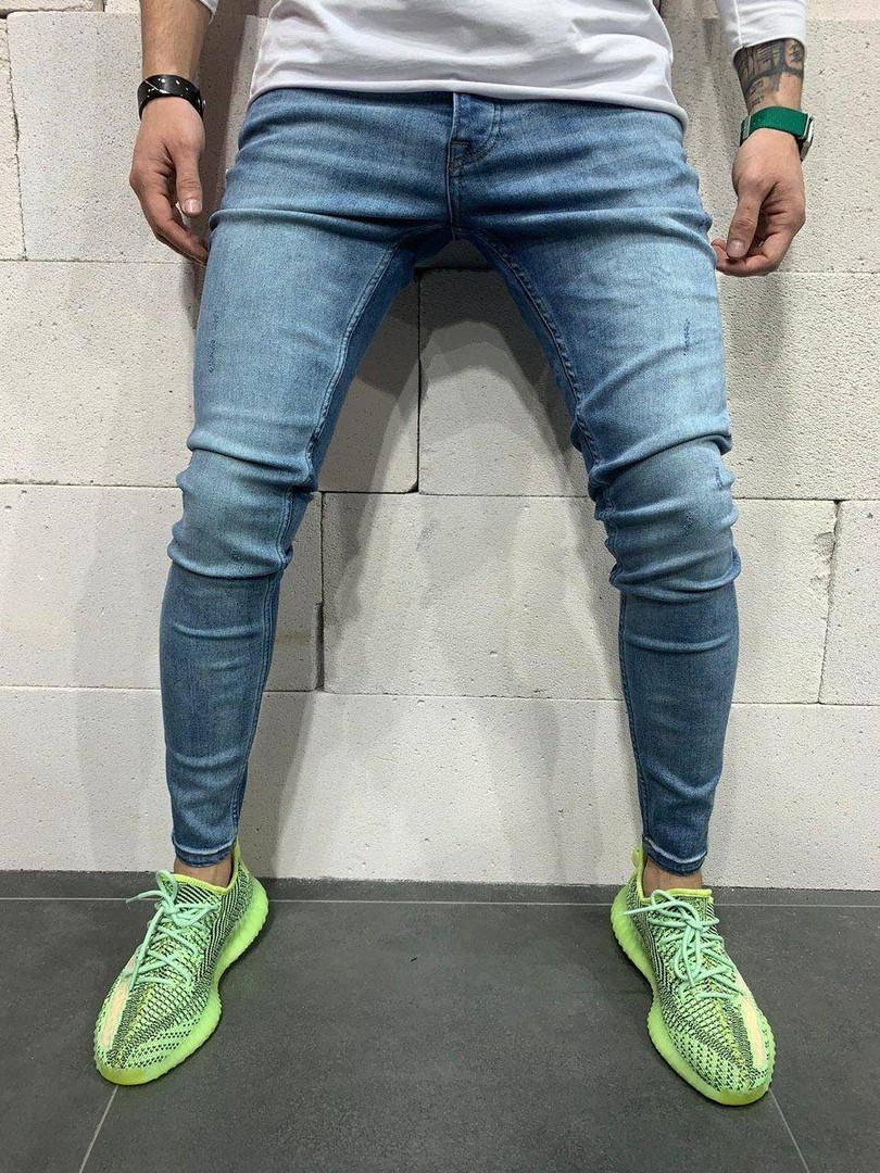 Мужские джинсы синие узкие турецкие А-4983