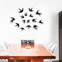 3d наклейки набор декоративных 3д птичек Ласточки, набор 15 шт. картон объемные фигуры