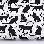 """Лоскут ткани """"Коты и следы лапок"""" чёрные на белом фоне №2577, размер 80*26, фото 2"""