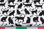 """Лоскут ткани """"Коты и следы лапок"""" чёрные на белом фоне №2577, размер 80*26, фото 3"""