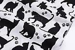 """Отрез ткани """"Коты и следы лапок"""" чёрные на белом фоне №2577, размер 52*160, фото 5"""